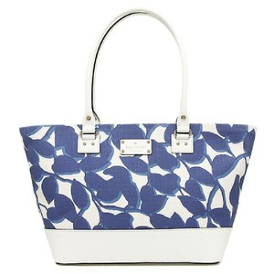 Kate Spade Shoulder Leather Tote in Navy / White