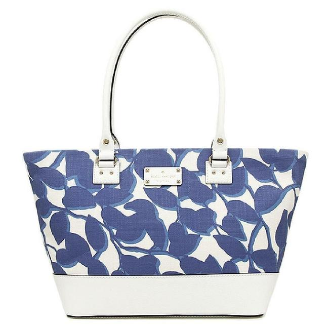 Item - Wellesley Leaves Harmony Navy / White Fabric Leather Tote