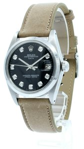 Rolex Mens ROLEX Oyster Perpetual Date 34mm Black Dial Diamond Stainless Ste