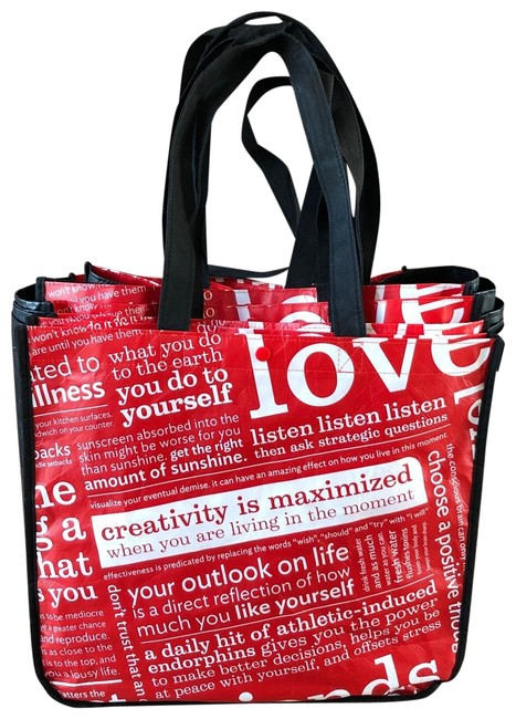 """Item - Five Large Reusable """"classic"""" Shopping Red Nylon Tote"""