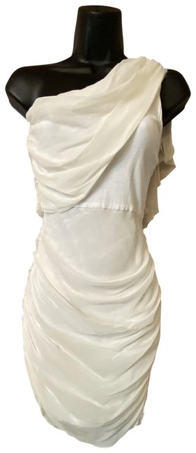 Item - White One Shoulder Silk Trim Rayon Short Night Out Dress Size Petite 4 (S)