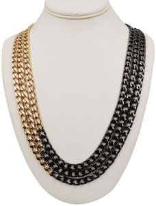 Givenchy 1980s Givenchy Goldtone & Blackened Metal Multi-Chain Necklace