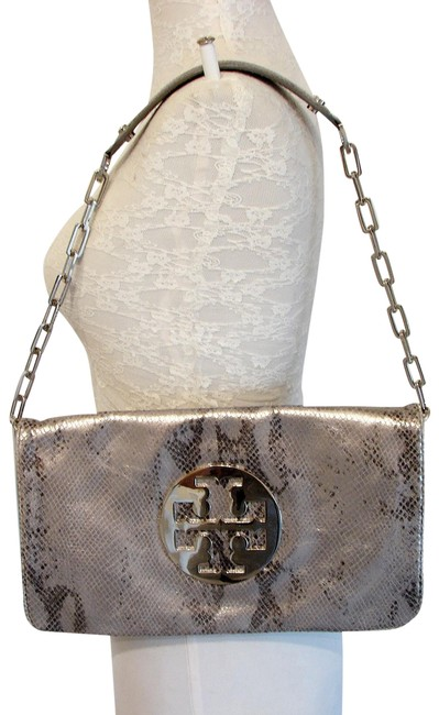 Item - Metallic Snake Embossed Reva Metallic-silver Leather Shoulder Bag