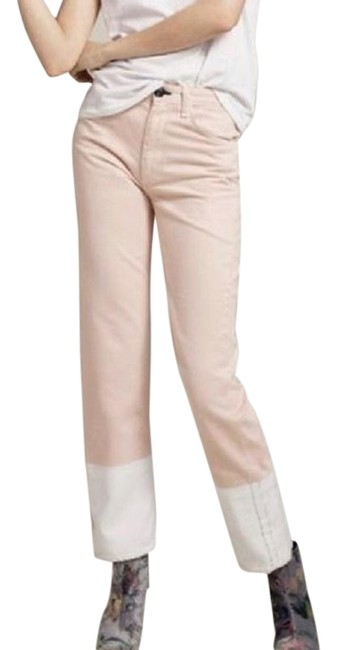 Item - Pink Cream White Light Wash Two-tone Color-block Straight Leg Jeans Size 23 (00, XXS)