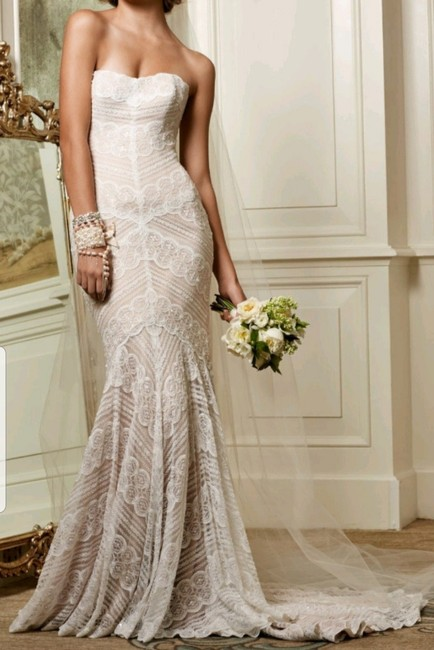 Wtoo Ivory/Rose Gold and Lace Pippin 13111 Retro Wedding Dress Size 10 (M) Wtoo Ivory/Rose Gold and Lace Pippin 13111 Retro Wedding Dress Size 10 (M) Image 1