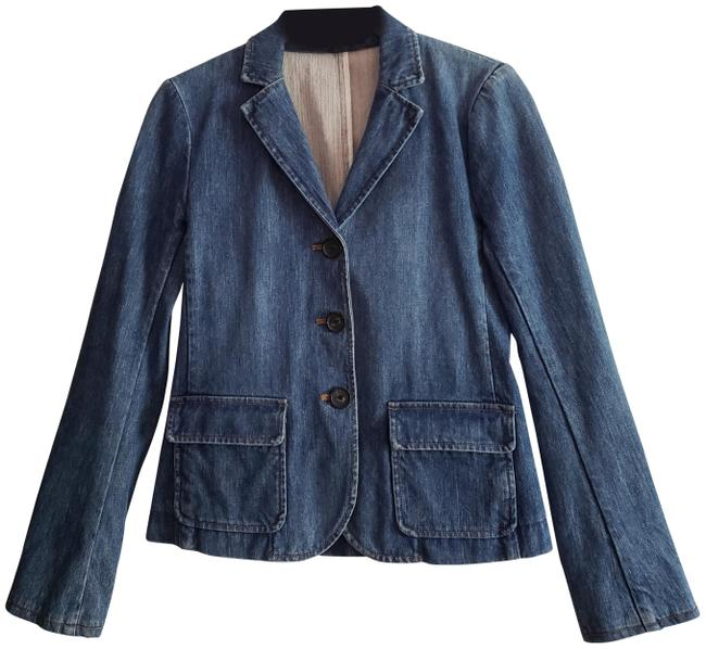 Item - Blue Denim Blazer Medium Wash Fitted Three Button Jacket Size 2 (XS)