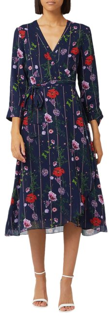Item - Navy Red Floral Print Hedgerow Elowisa Wrap Us Mid-length Work/Office Dress Size 6 (S)