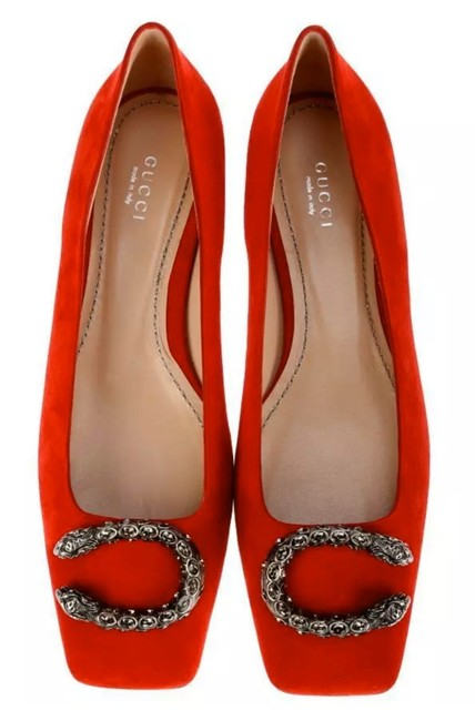 Item - Red Dionysus New Suede Leather Crystal Buckles Ballet 36 Flats Size US 6 Regular (M, B)