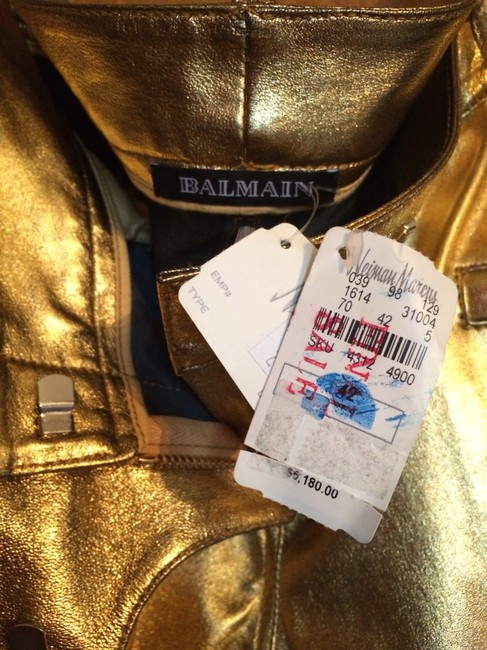 Balmain Leather Skinny Pants Gold Leather