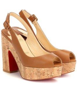Christian Louboutin Pigalle Stiletto Classic Galeria Studded brown Wedges