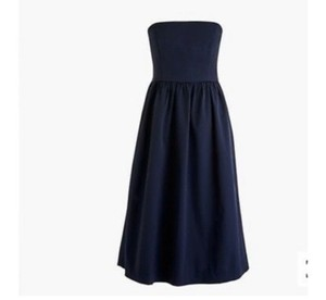 J.Crew Navy Nylon Strapless Casual Bridesmaid/Mob Dress Size 10 (M)