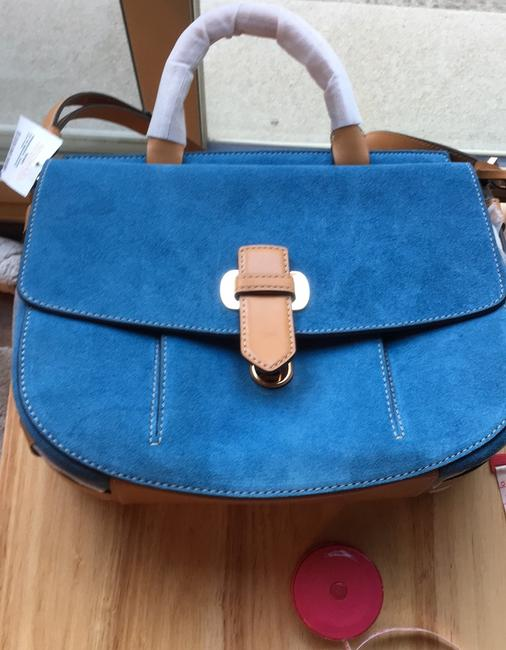 Item - Crossbidy Blue Suede and Leather Messenger Bag