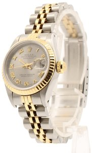 Rolex LADIES ROLEX OYSTER PERPETUAL DATEJUST YELLOW GOLD STEEL SILVER DIAL
