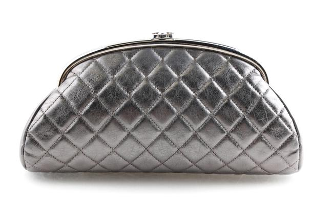 Item - Quilted Timeless Aged Silver Calfskin Leather Clutch