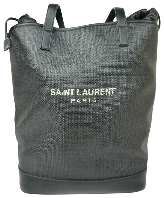 Item - Shopping Bag Linen Canvas Teddy Black Leather Tote