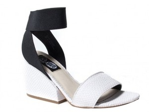 Cheap Monday Embossed Chunky Heal White Sandals