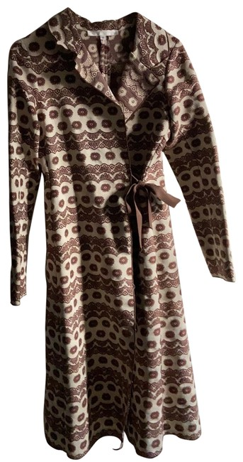 Item - Cream and Brown Pattern Tapestry Spring Full Length Coat Size 2 (XS)