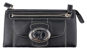 Dior Christian Dior Black Leather Zippered Wallet (39926)