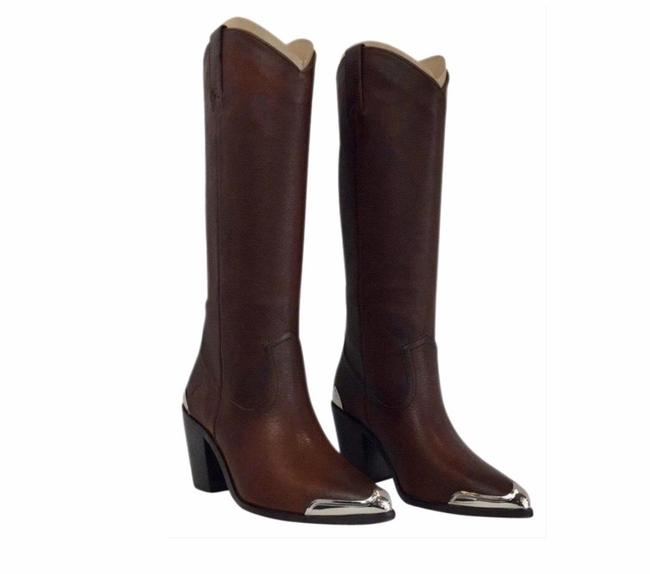 Item - Brown Women's Metal Plate Pull On Western Boots/Booties Size US 6 Regular (M, B)