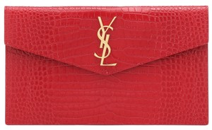 Saint Laurent Holiday Patent Leather Croc Ysl red, gold Clutch