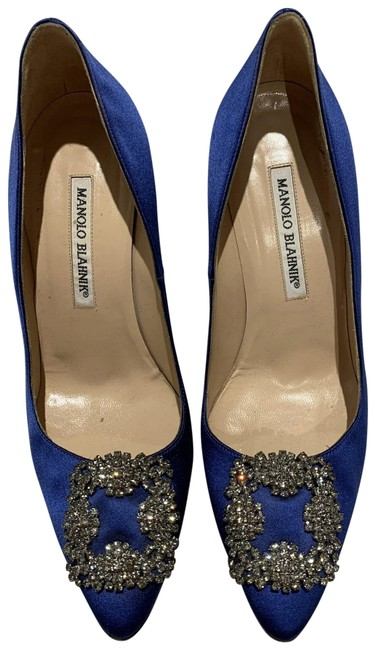 Item - Blue Hangisi Satin Jewel Crystal Buckle Pumps Size EU 37.5 (Approx. US 7.5) Regular (M, B)