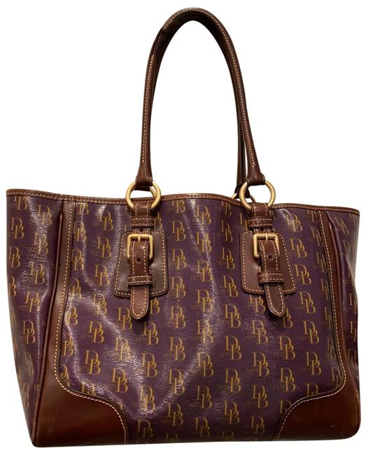 Item - Deep Purple Treated Canvas and Leather Tote