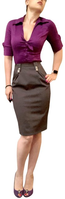 Item - Gray Dolce & Gabanna Dark Silver Lock Pockets Pencil 40 Skirt Size 4 (S, 27)
