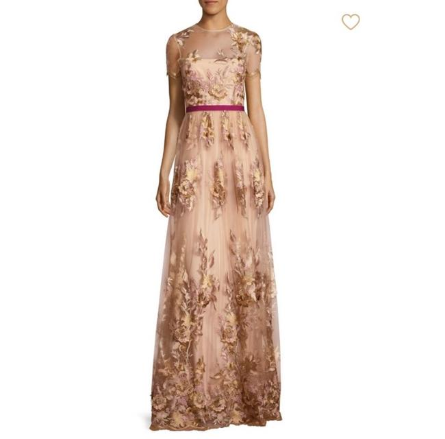 Item - Nude Illusion Mesh Appliqué Long Formal Dress Size 10 (M)