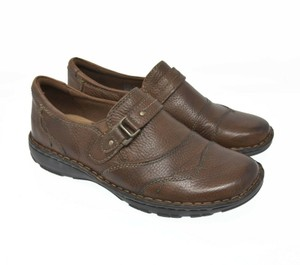 Earth Buckle Leather Comfort Brown Flats