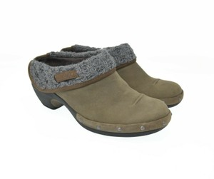 Merrell Leather Stud Knit Brown Mules