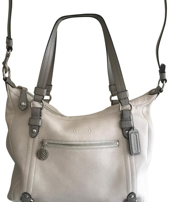 Item - Pebbled White with Gray Handles Leather Shoulder Bag