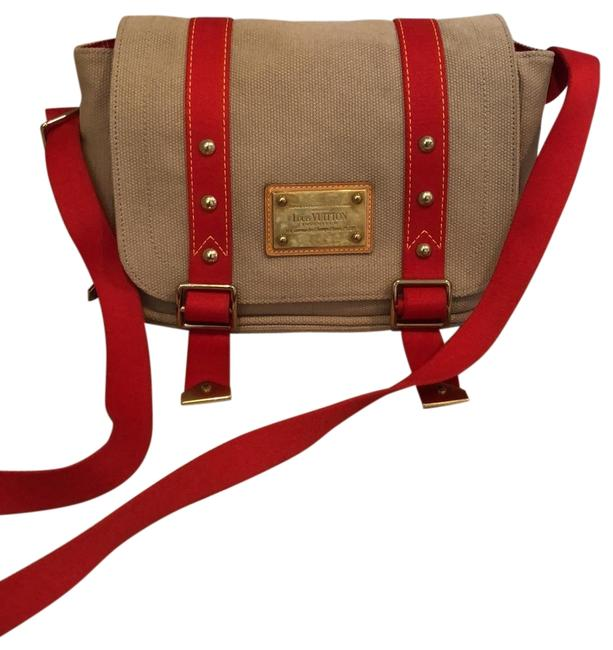 Item - Besace Antigua Taupe and Red Canvas Messenger Bag