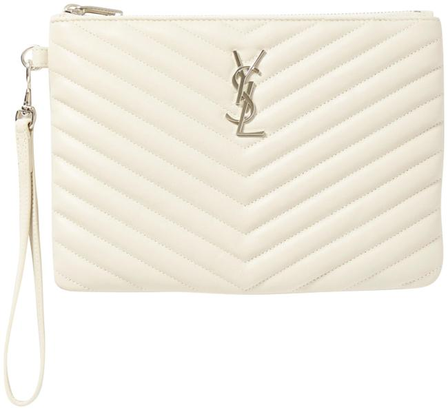 Item - Clutch Monogram Quilted Pouch Off White Leather Wristlet