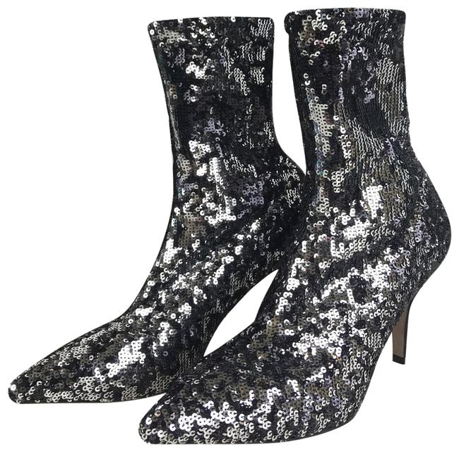 Item - Black Silver Sequin Ankle Sock Heels Boots/Booties Size EU 38 (Approx. US 8) Regular (M, B)