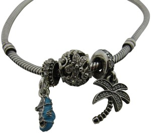 Pandora Authentic Pandora bracelet with 3 tropical inspired silver charms