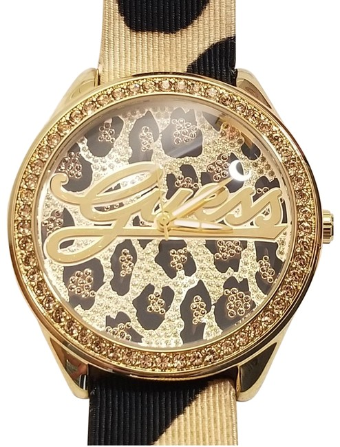 Item - Black Swarovski Crystals Bezel Gold Tone Watch