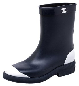 Chanel Rubber Ankle Navy Blue Boots