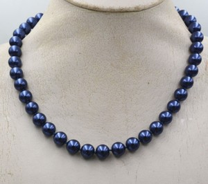 """Mother of Pearl Blue 8mm South Sea Shell 18"""" Necklace"""