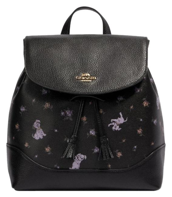 Item - Disney X Elle with Dalmatian Floral Print Black Multi Coated Canvas Backpack
