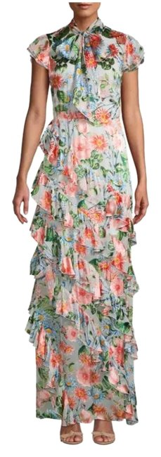 Item - Multicolor And Lessie Floral Print Ruffled Long Cocktail Dress Size 12 (L)