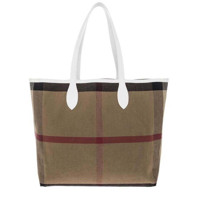 Item - Coated Check Reversible Doodle Purse Brown / White / Blue Canvas Tote