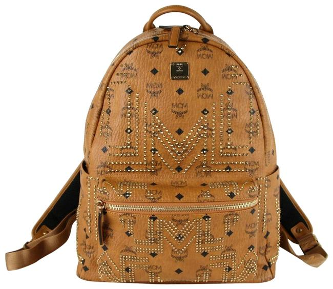 Item - Studded Medium Mmk8ave55co001 Cognac Brown Coated Canvas Backpack