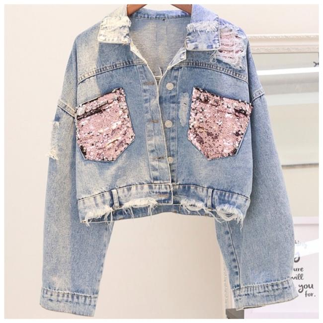 Item - Blue & Pink The Shantice Sequin Distressed Jean Jacket Size 6 (S)