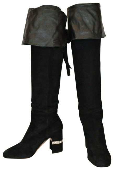 Item - Black 5w138c Suede Crystals Jeweled Over The Knee Heel High Boots/Booties Size EU 41 (Approx. US 11) Regular (M, B)