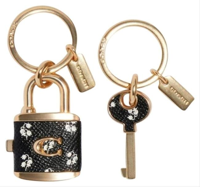 Item - Black/Gold & Key Keychain Bag Charm Valet Set