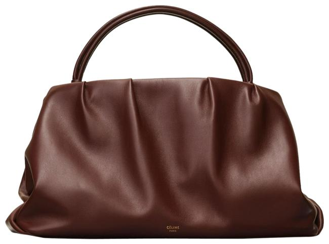 Item - Clutch Medium Purse with Handle Brown Burgundy Smooth Calfskin Leather Tote
