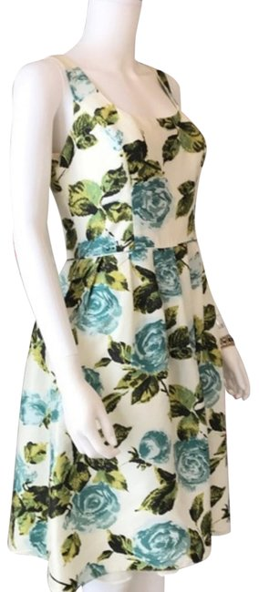 Item - Blue Green Ivory Floral Sleeveless Scoop Neck Silk 2p Mid-length Night Out Dress Size 2 (XS)