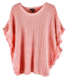 One A Slouch Oversize Chevron Lace Thin Knit Ruffles Sweater