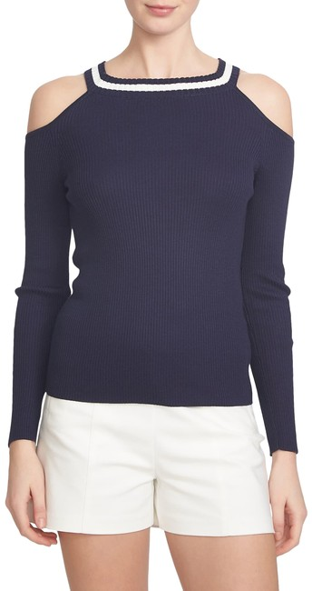 Item - Rib Cotton Cold Shoulder Blue Sweater
