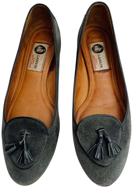 Lanvin Grey Gray Black Dark Suede Loafer Patent Leather Tassels Flats Size EU 39 (Approx. US 9) Regular (M, B) Lanvin Grey Gray Black Dark Suede Loafer Patent Leather Tassels Flats Size EU 39 (Approx. US 9) Regular (M, B) Image 1